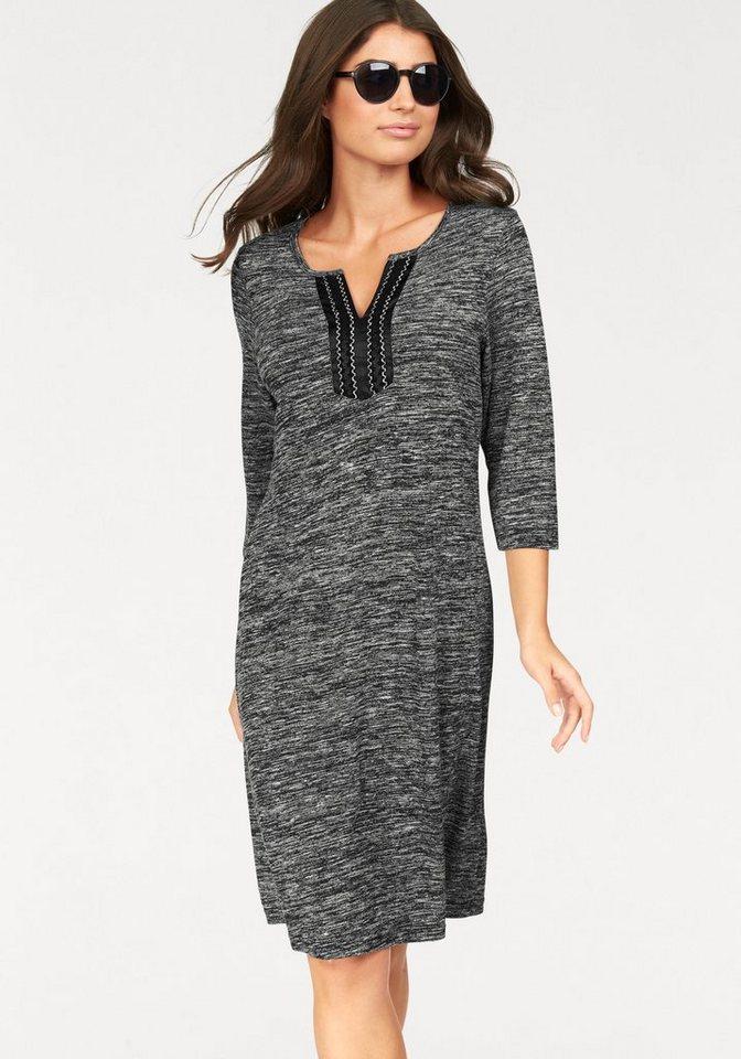 Boysen's Jerseykleid in Melange-Optik mit aufwendig verziertem Ausschnitt in grau-schwarz-meliert