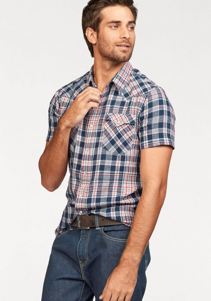 Levi's® Kurzarmhemd in blau-kariert