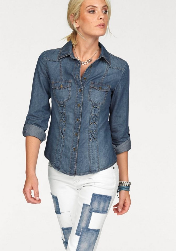Arizona Jeansbluse mit Schnürung in blue-stone