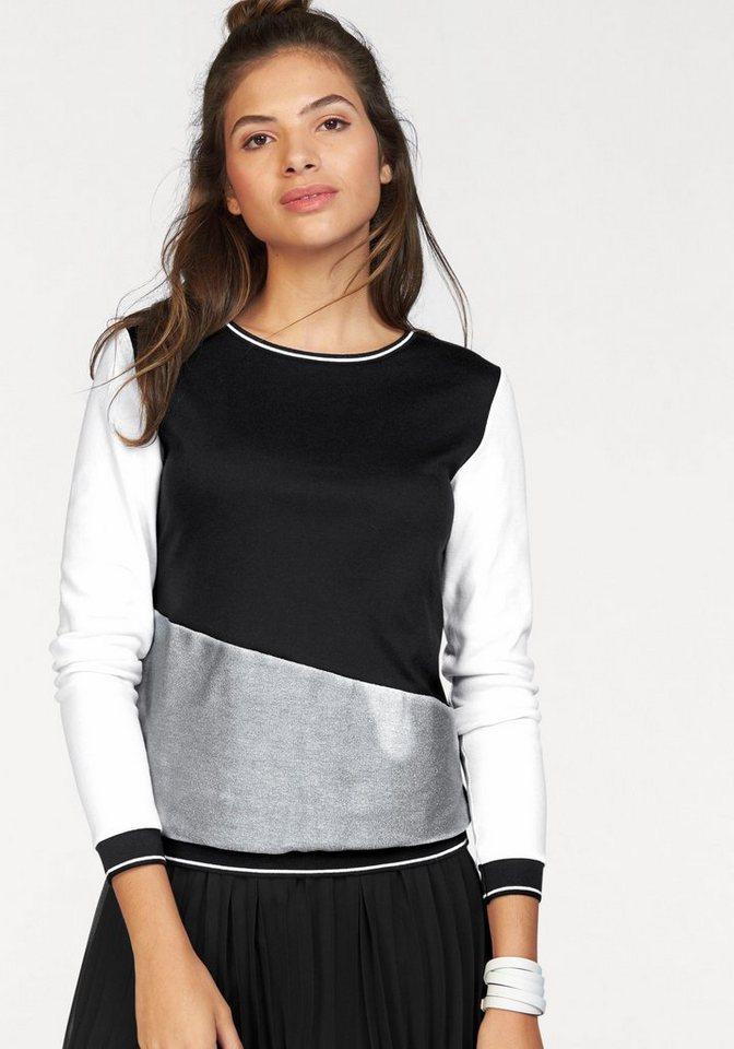 AJC Sweatshirt mit Color Blocking Details in schwarz-weiß-silberfarben
