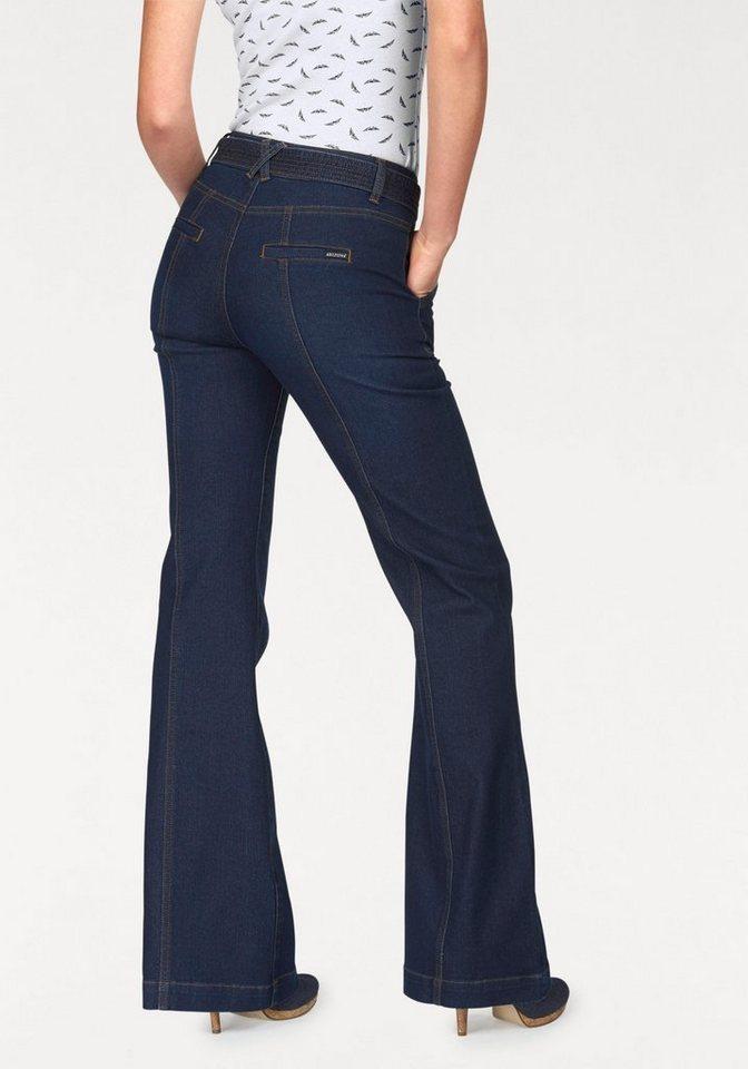 Arizona Weite Jeans Im Marlenestil mit Gürtel in rinsed