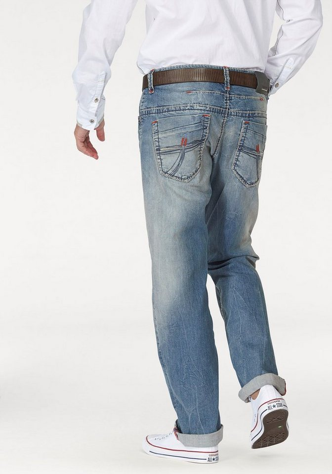 CAMP DAVID Comfort-fit-Jeans mit markanten Nähten in light-stone-used