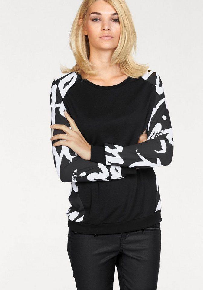 Laura Scott Blusenshirt im edlen Materialmix in schwarz-weiß