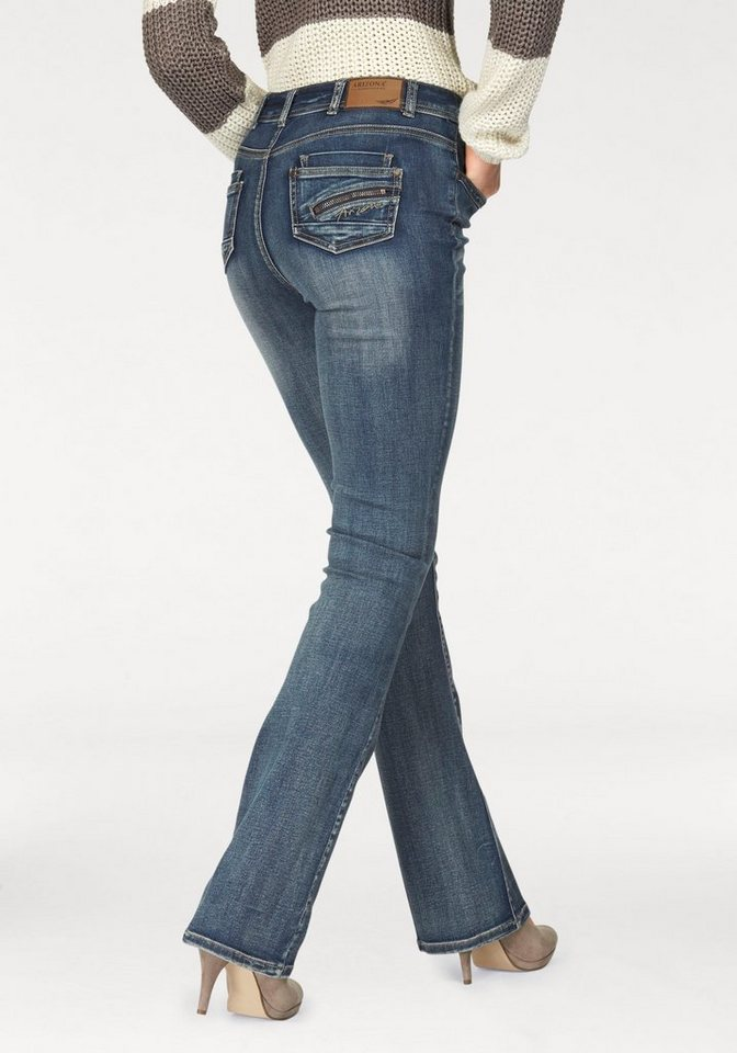 Arizona Bootcut-Jeans »High -Waist« mit Zippertasche in mid-blue-used