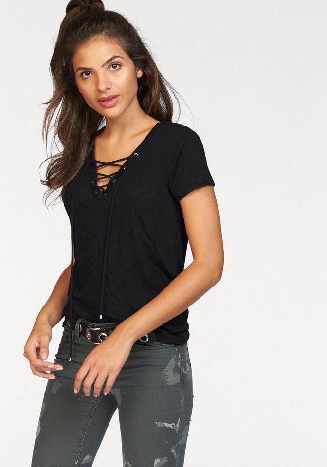 AJC T-Shirt mit Schnürung, Ösen und Kordel vorne in schwarz