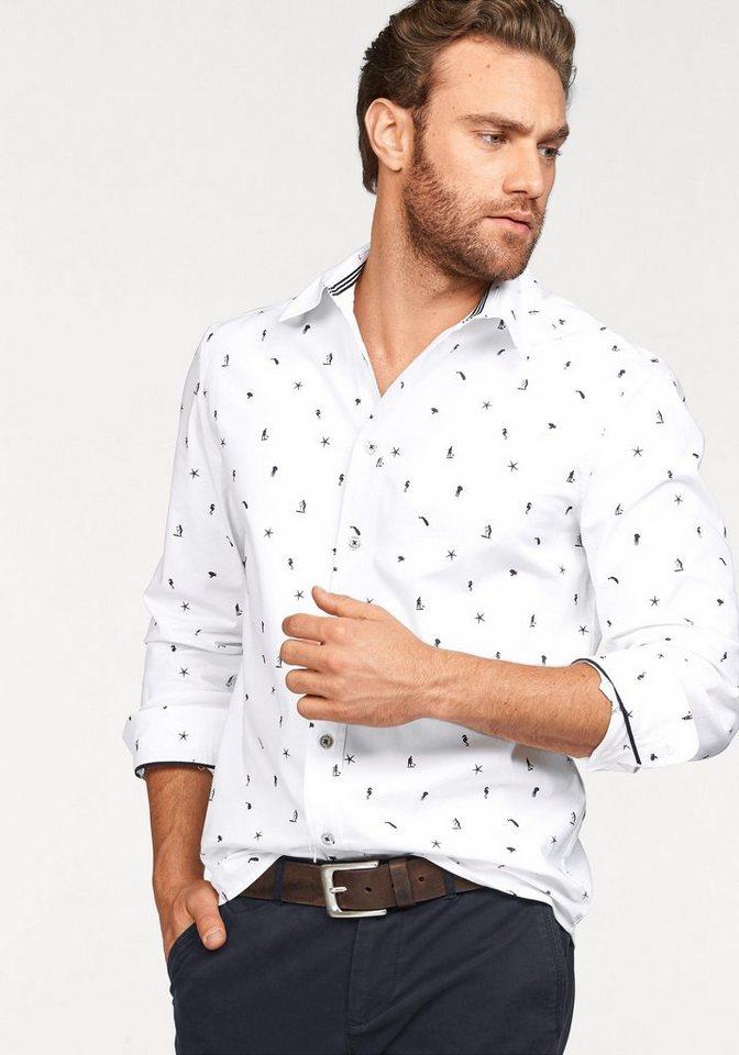 Rhode Island Hemd mit Minimal-Print in weiß