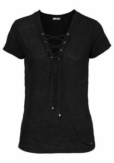 AJC T-Shirt, mit Schnürung, Ösen und Kordel vorne