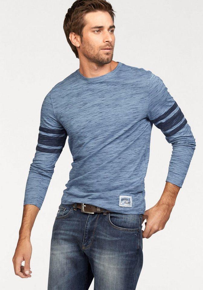 Rhode Island Langarmshirt mit Kontraststreifen in hellblau-meliert