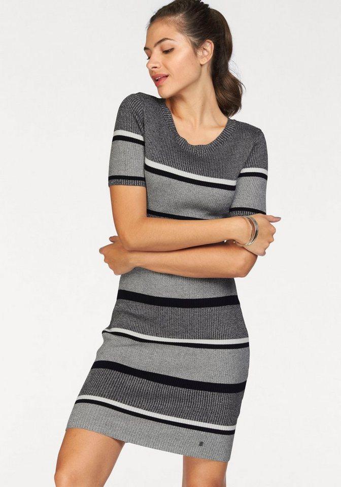 AJC Strickkleid im Rippenstrick mit schönem Streifen-Muster in schwarz-grau-meliert-weiß