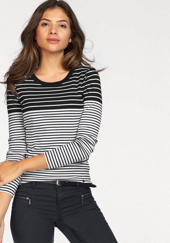 AJC Langarmshirt im besonderen Streifen-Look in schwarz-weiß