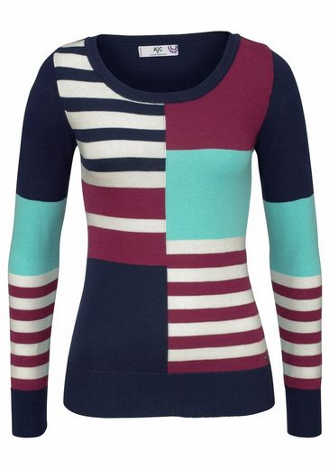 Ajc Crew-neck Sweater, In Elaborate Streaks And Color-mix