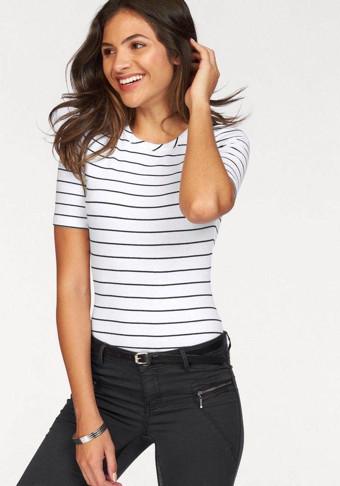 AJC Shirtbody im Streifen-Look in weiß-schwarz