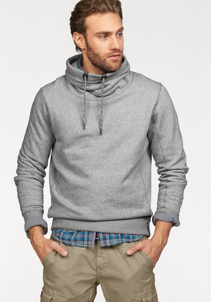 Tom Tailor Sweatshirt Hoher Kragen in grau-meliert