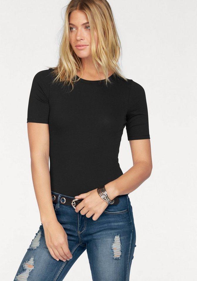 AJC Shirtbody uni aus elastischer, formstabiler Qualität in schwarz