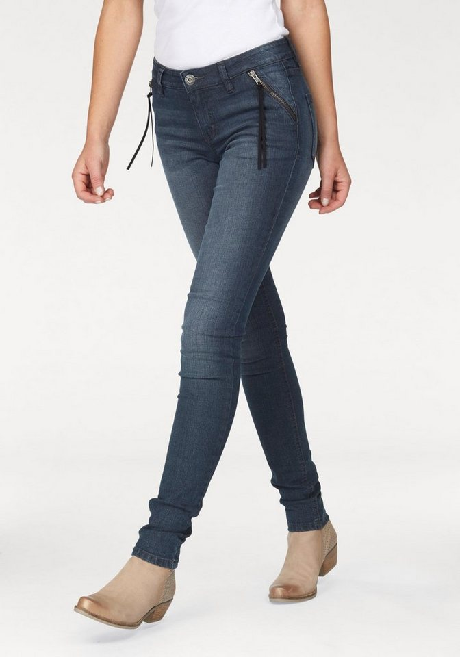 Arizona Skinny-fit-Jeans »mit Zippertaschen« Low Waist in darkblue-used