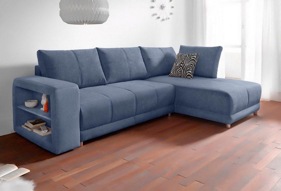 RAUM.ID Polsterecke, inklusive Bettfunktion und Bettkasten in blau