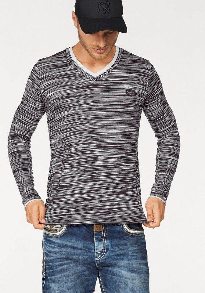 Cipo & Baxx Layershirt in schwarz-weiß-meliert