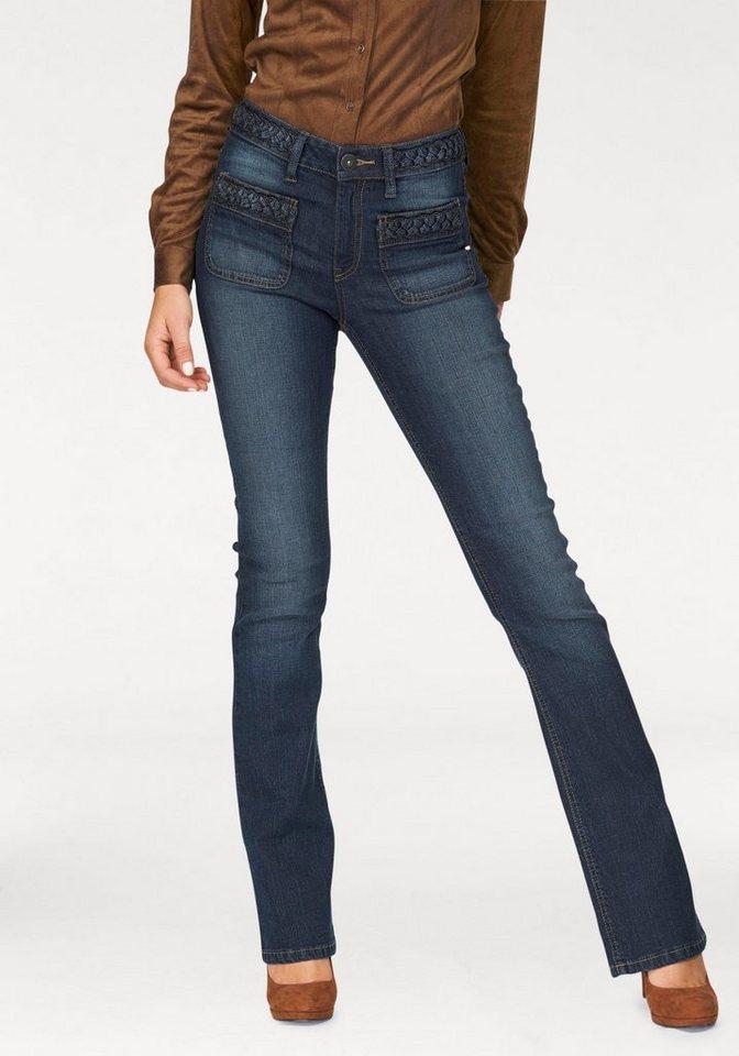 Arizona Bootcut-Jeans »mit Flechtdetails am Bund« High Waist in darkblue