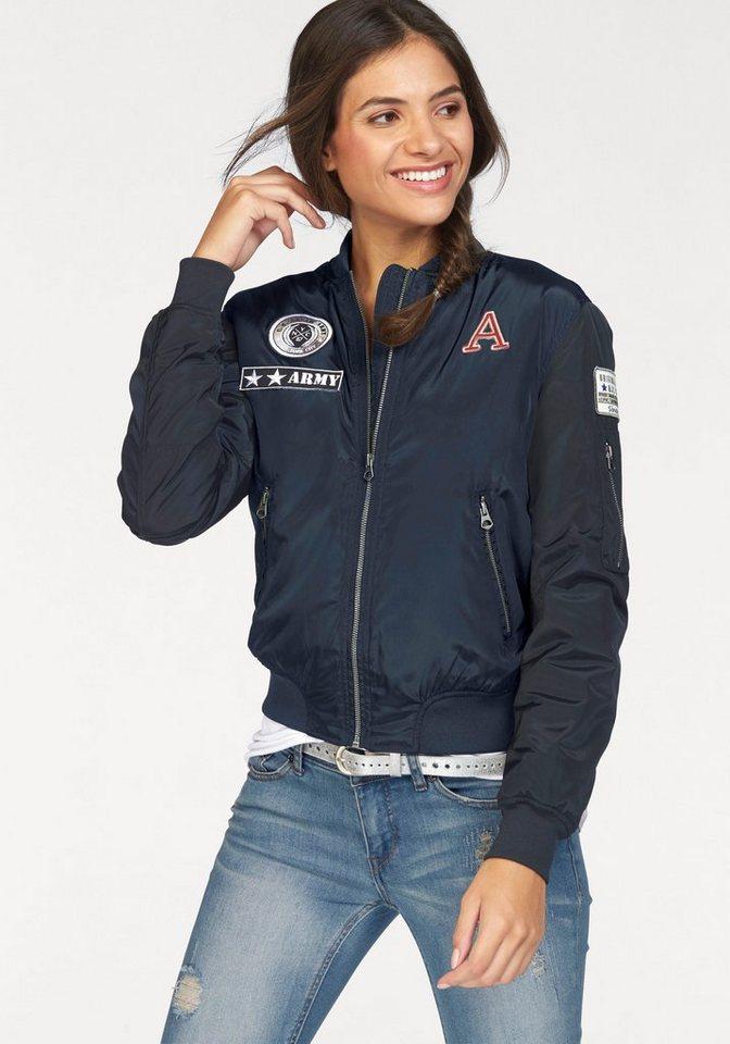 AJC Bomberjacke mit aufwendigen Badges und Zipper-Taschen in marine