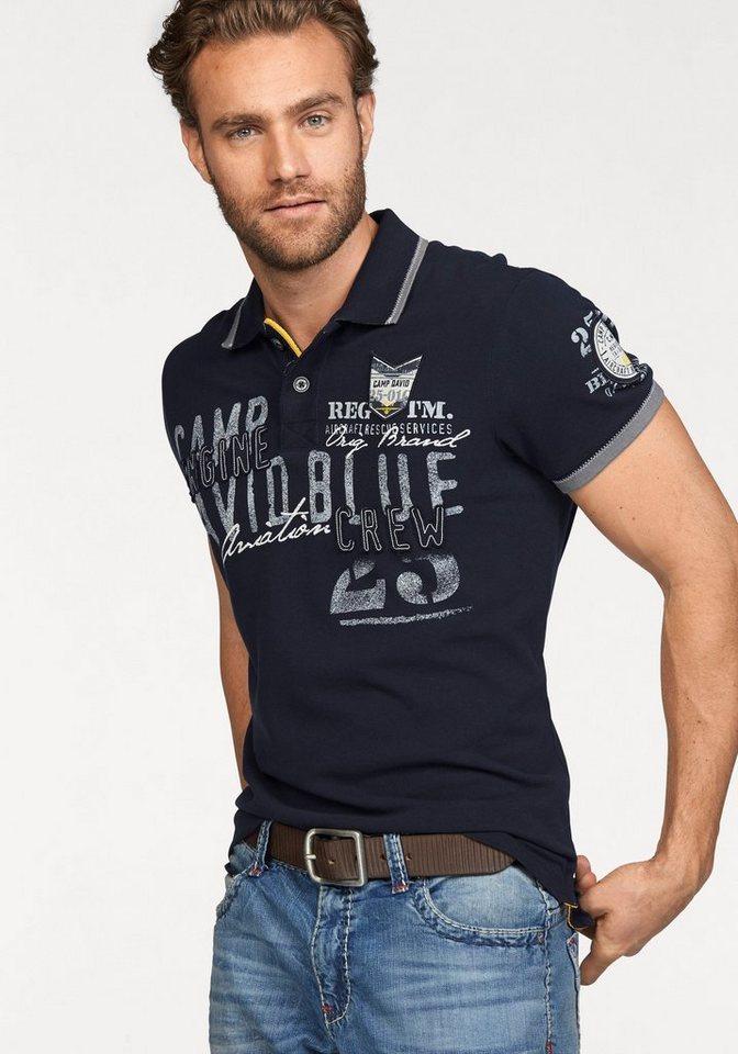 CAMP DAVID Poloshirt in hochwertiger Piqué-Qualität in marine