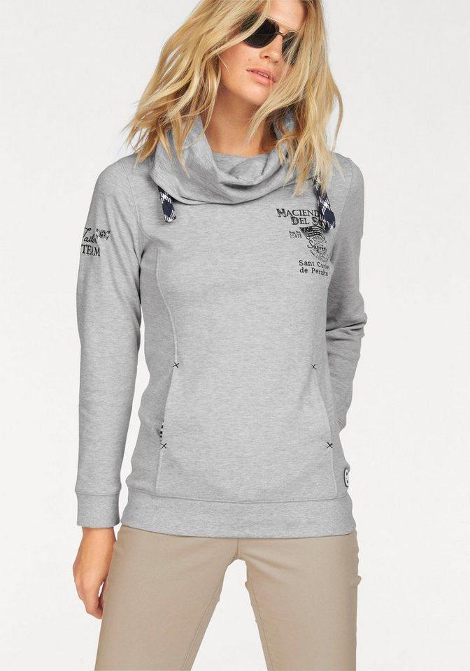 Tom Tailor Polo Team Sweatshirt mit großem Druck und Stickerei auf dem Rücken in hellgrau-meliert