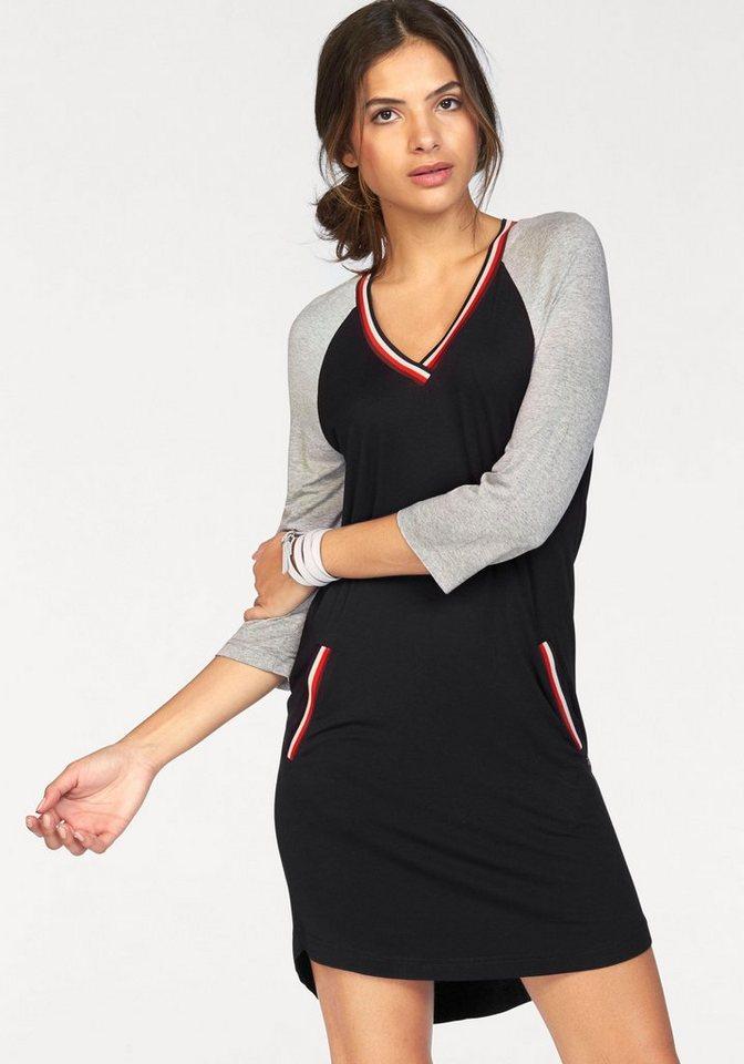 AJC Jerseykleid mit kontrastfarbenem Ausschnitt und Tascheneingriff in schwarz-gestreift