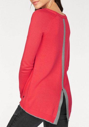 AJC Rundhalspullover, mit kontrastfarbenen Details hinten