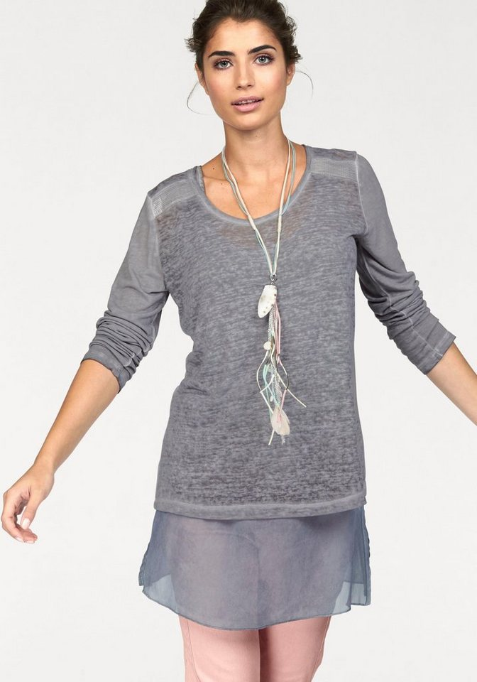 Boysen's Longshirt im Lagen-Look mit Pailletten (Set, mit Top) in grau