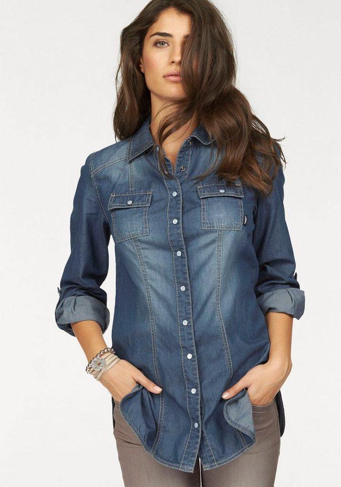 Arizona Jeansbluse mit Perlmutt-Druckknöpfen in blue-stone