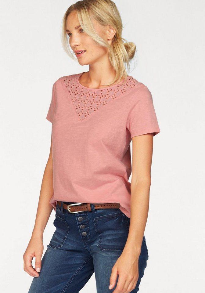 s.Oliver RED LABEL T-Shirt mit Spitzeneinsatz in rosa