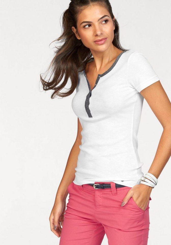 AJC T-Shirt mit Knopfleiste aus leichtem Denim in weiß-blau