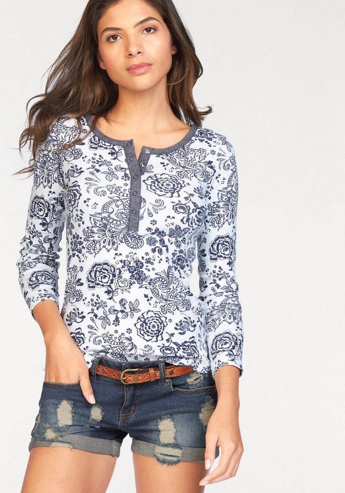 AJC Langarmshirt mit Blumen Druck und Knopfleiste in weiß-blau
