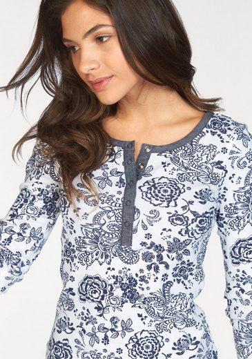 AJC Langarmshirt, mit Blumen Druck und Knopfleiste