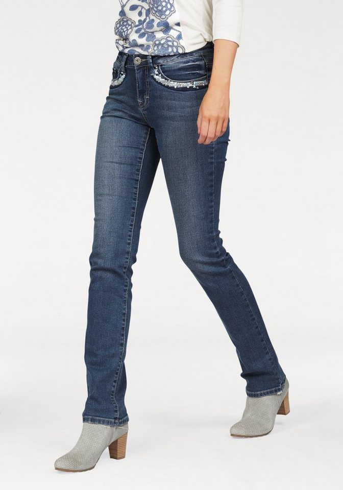 Arizona Gerade Jeans mit Stickerei und Nieten in blue-used