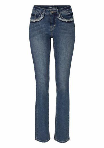 Arizona Gerade Jeans mit Stickerei und Nieten, Mid Waist