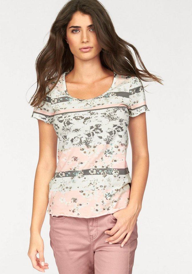 Boysen's T-Shirt floral bedruckt in Streifen-Optik in wollweiß-rosé