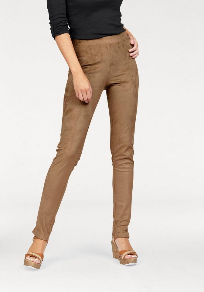 Boysen's Leggings »suede pants« in Veloursleder-Optik in cognac
