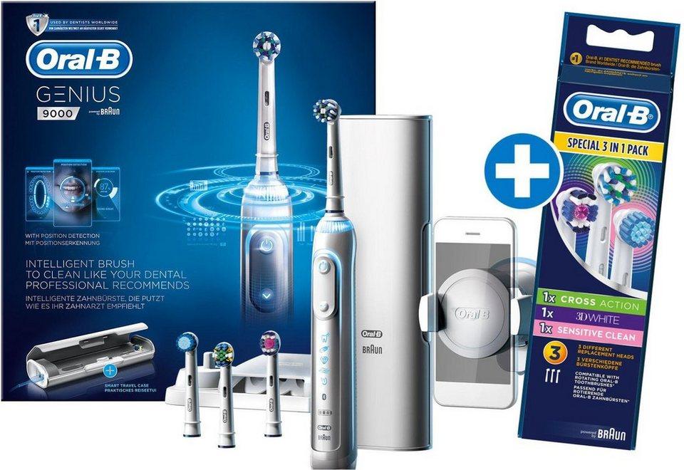 Oral-B Elektrische Zahnbürste Genius 9000 White, inklusive gratis Jahresvorrat an Aufsteckbürsten in weiß