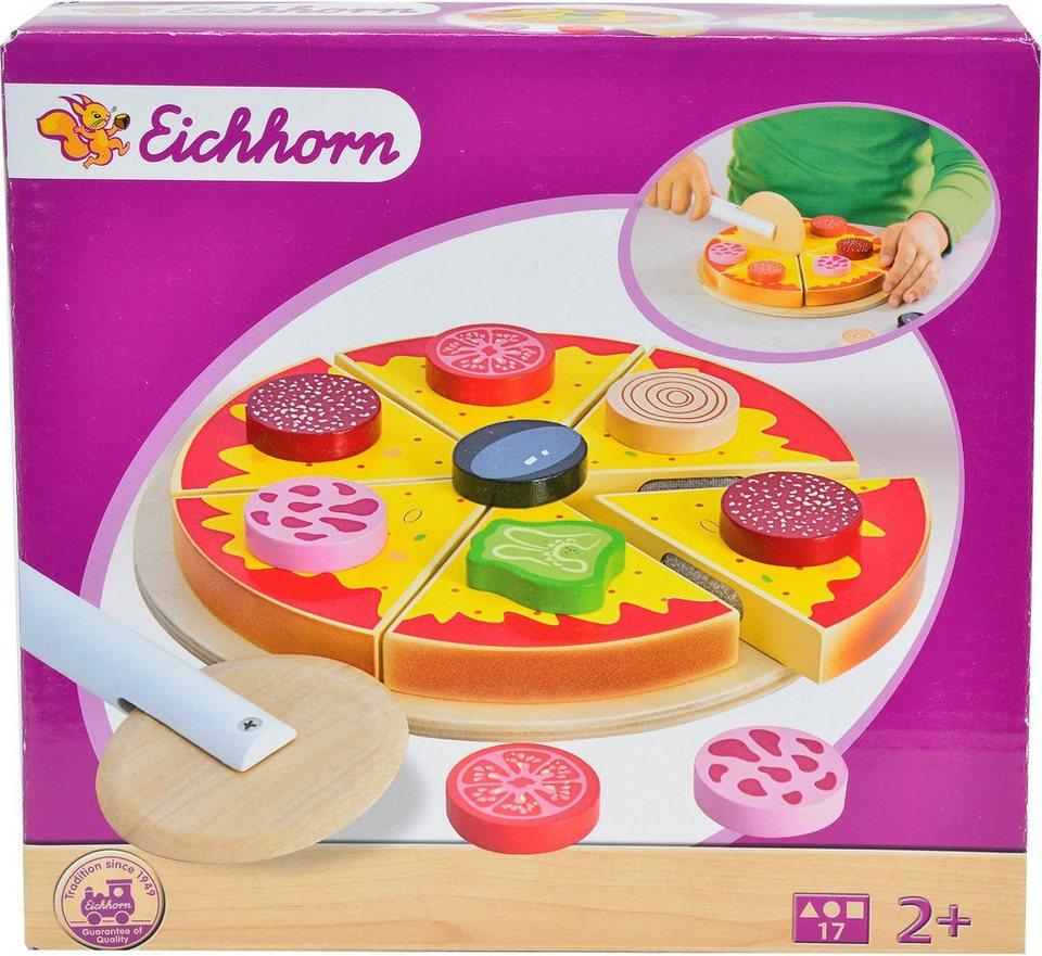 Eichhorn Holzpizza mit Belag und Schneideroller, »Pizza, 17tlg.«
