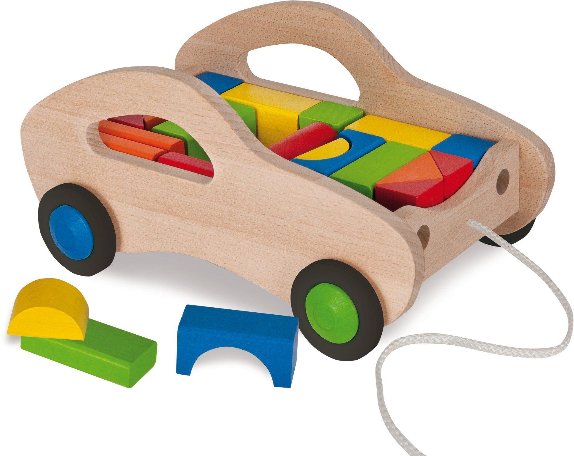 Eichhorn Nachziehwagen aus Holz, »Bauwagen mit Bausteinen, 25tlg.«