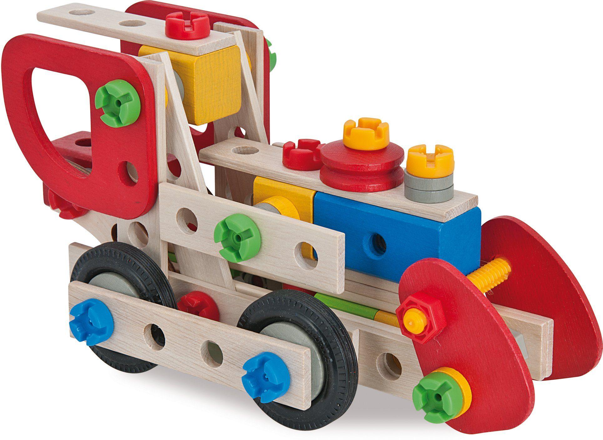 Heros Umfangreicher Bausatz für verschiedene Modellvarianten aus Holz, »Constructor Lok, 125 tlg.«