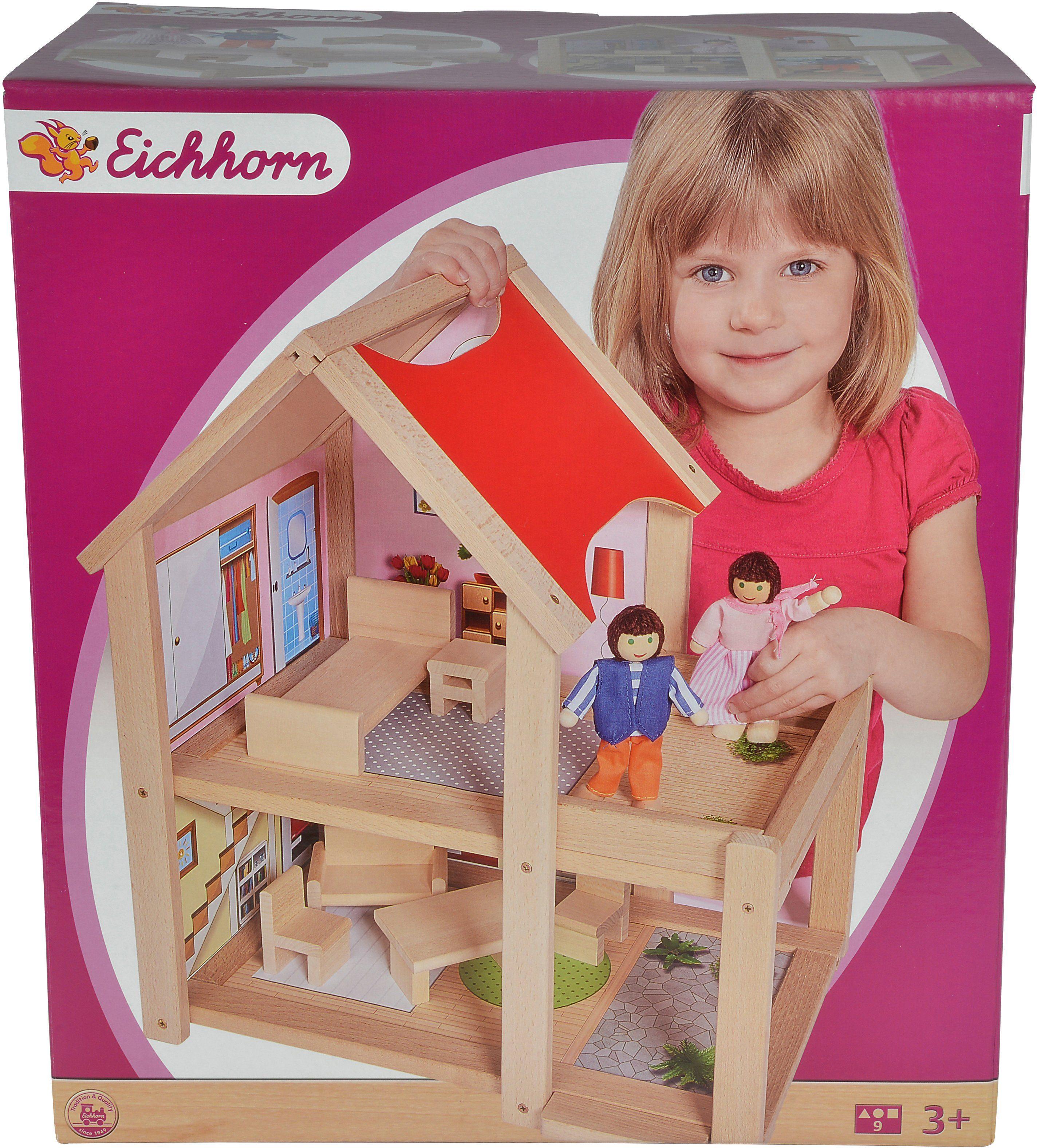Eichhorn Holzhaus mit Einrichtung und Spielfiguren, »Puppenhaus, 9tlg.«