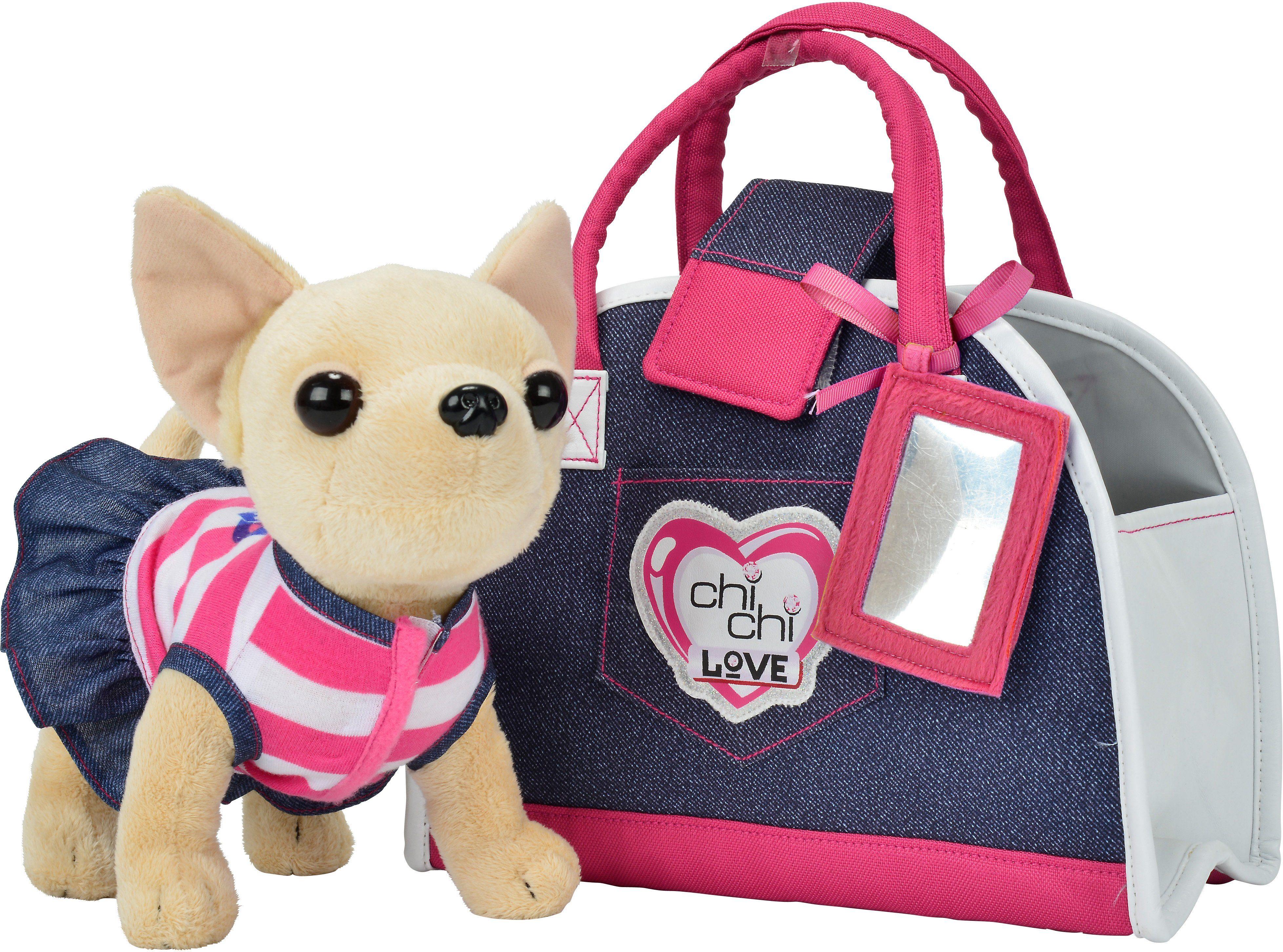 Simba Stofftier mit Tasche ca. 23 cm, »Chi Chi Love, Chihuahua Plüschhund Denim Fashion«
