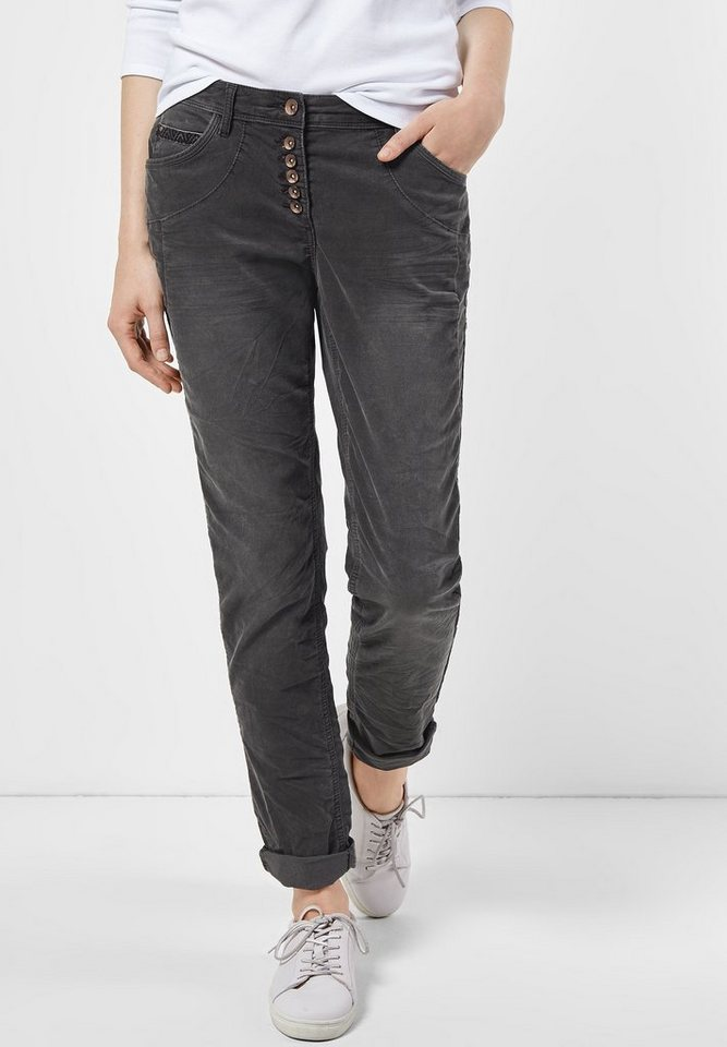 CECIL Cordhose New York in dark silver