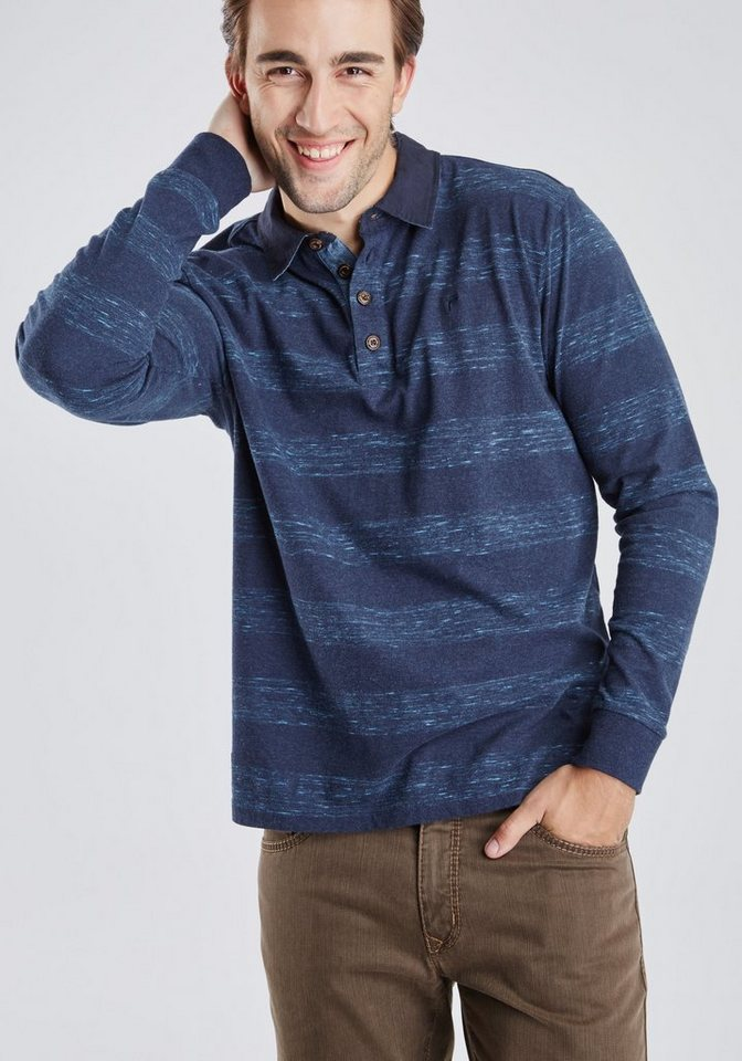 PIONEER langarm Poloshirt in dunkelblau