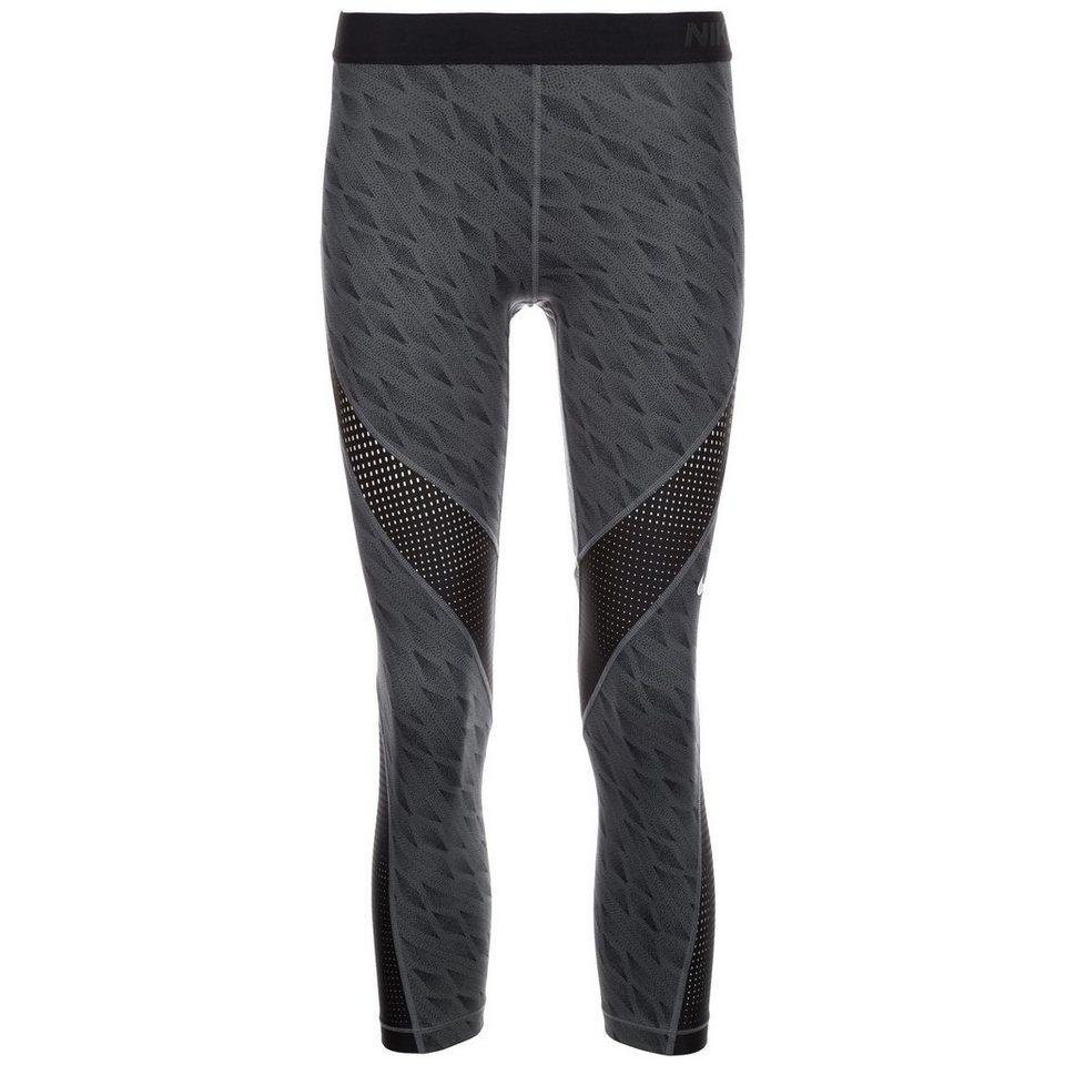 NIKE Pro Hypercool Capri Trainingstight Damen in grau / schwarz