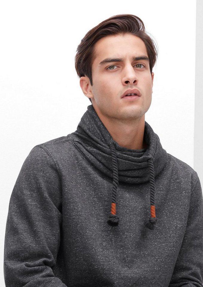 s.Oliver RED LABEL Sweatshirt mit Schalkragen in black melange