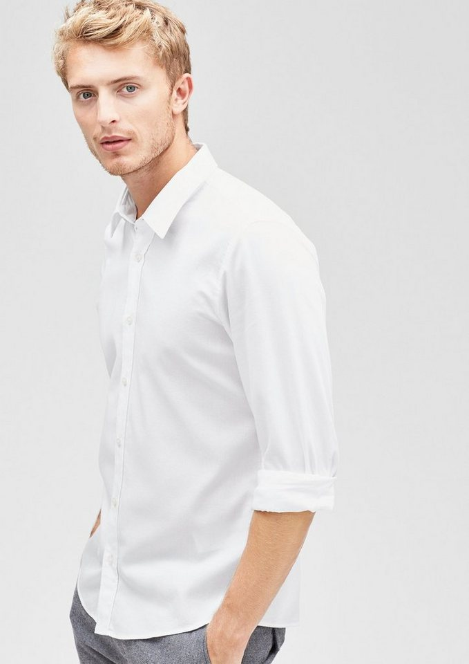 s.Oliver BLACK LABEL Modern Fit: Hemd mit Dobby-Struktur in white dobby