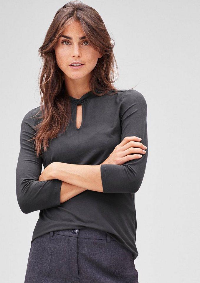s.Oliver BLACK LABEL 3/4-Arm-Shirt aus Viskosestretch in glory grey