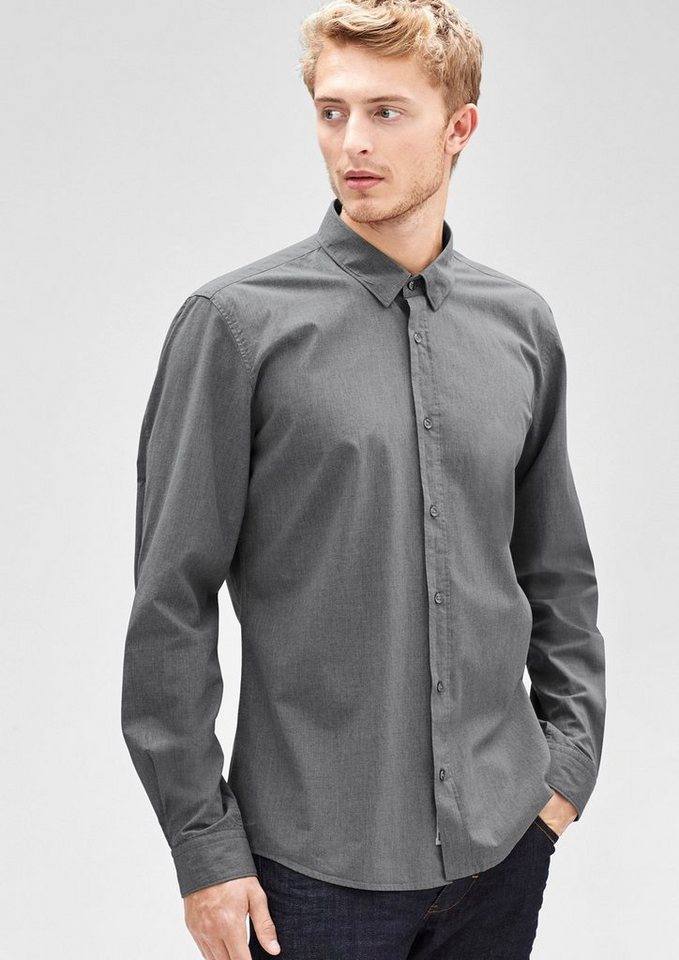s.Oliver BLACK LABEL Modern Fit: Hemd in Melange-Optik in classy grey melange
